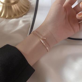 Silvology 925 Sterling Silver Double Layer Flat Round Beads Bracelets for Women Rose Gold Elegant Bracelets 925 Festival Jewelry недорого