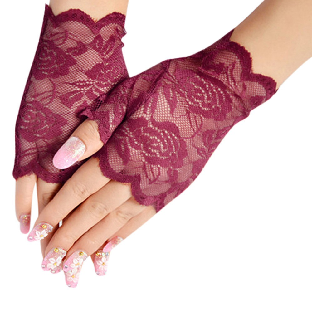 Women Mesh Fishnet Gloves Girls Werding Evening Party Lace Gloves Ladies Hand Wrist Winter Hanging Neck Thicken Hot Warm Gloves