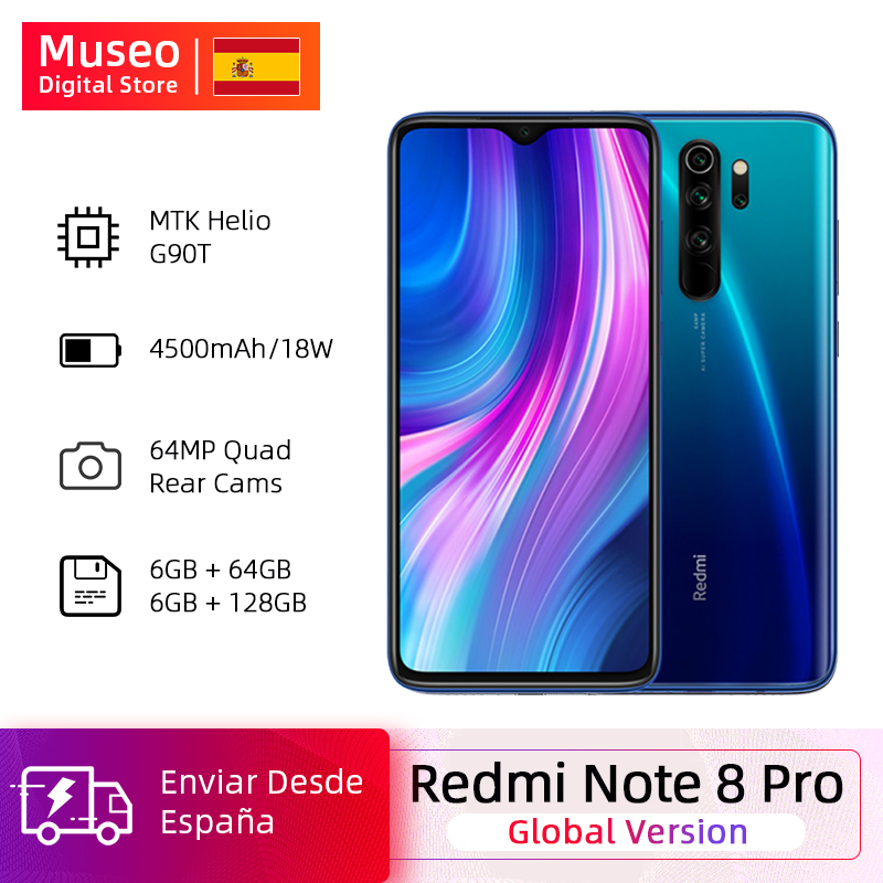 <font><b>Global</b></font> <font><b>Version</b></font> <font><b>Xiaomi</b></font> <font><b>Redmi</b></font> <font><b>Note</b></font> <font><b>8</b></font> <font><b>Pro</b></font> 64GB / <font><b>128GB</b></font> ROM 64MP Quad Cameras MTK Helio G90T Smartphone 4500mAh 18W QC 3.0 UFS 2.1 image
