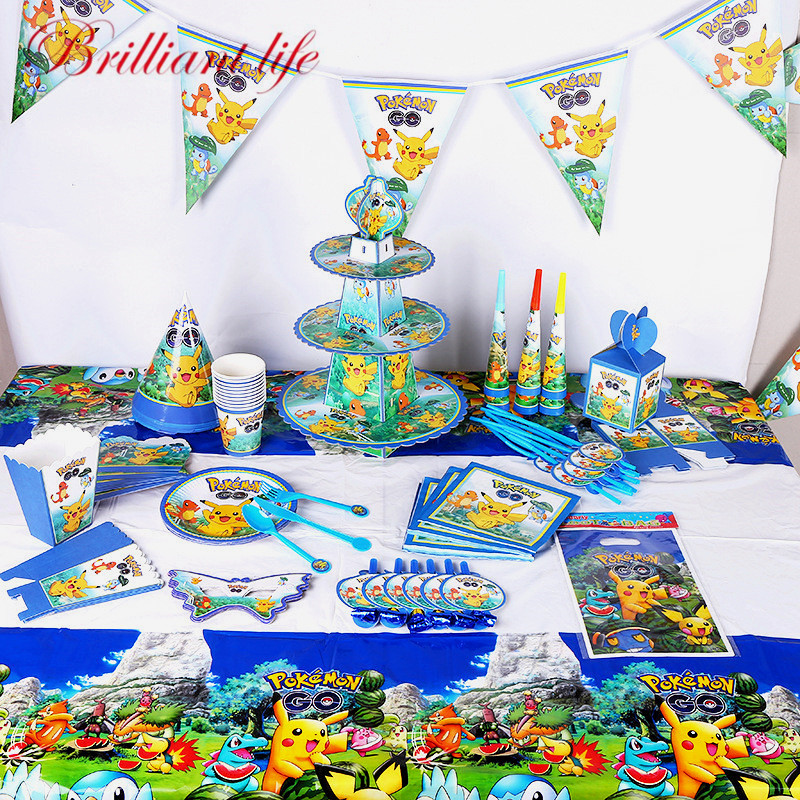 Pokemon Go Theme 252 Pcs/lot Child Boy Birthday Party Disposable Pikachu Paper Cup Plate Gift Bag Christmas Decoration Supplies