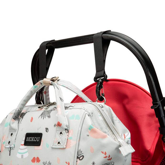 BEIKOU USB Diaper Bag Backpack for Mom Travel Waterproof Large Capacity Stroller Bag Maternity Bag Nappy Changing Baby Bag