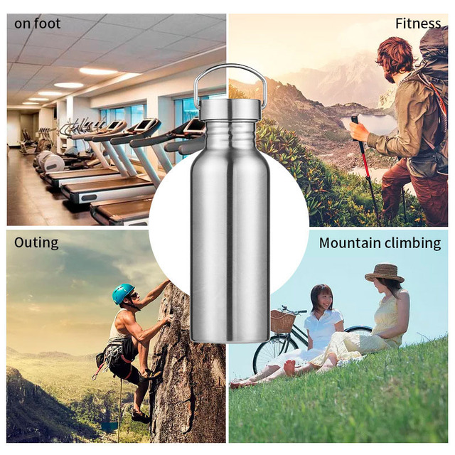 Stainless Steel Sports Water Bottle with Drinking Straw lids Cap Vacuum Flask Single Wall Hot Cold Water Bottle 500/750/1000ml 6