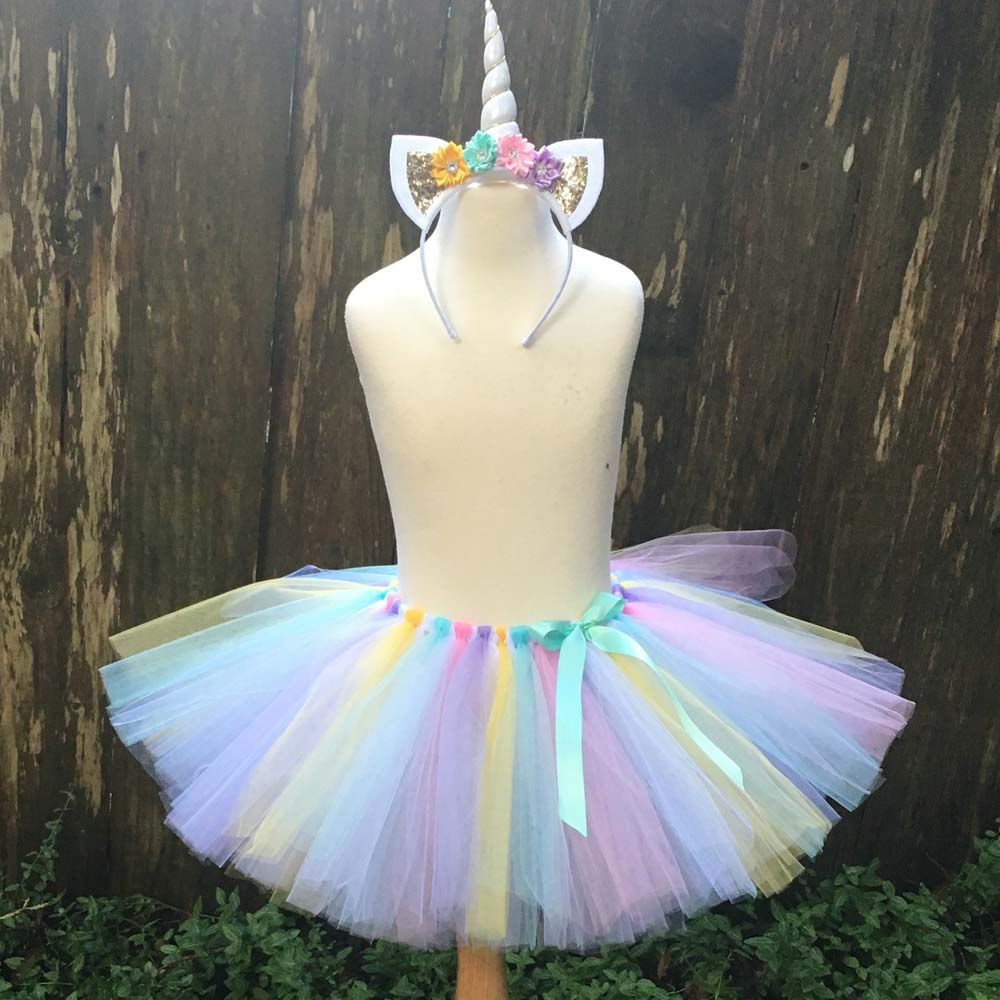 Пастельные юбки-пачки для девочек с единорогом, Детские балетные юбки с ленточным бантом и бантом, детские юбки для вечевечерние