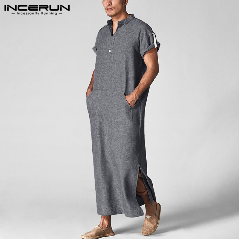 INCERUN Men Islamic Arab Muslim Kaftan Men Men's Clothings Men's Kaftan