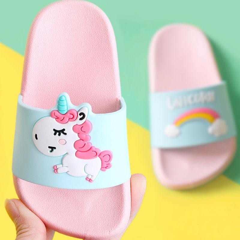 Rainbow Unicorn Slippers For Kids Boy Girl Cartoon Beach Shoes Baby Soft Indoor Bathroom Slippers Flip Flops #Y0008017Q