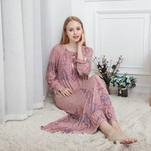 Весна Осень 2020 женская ночная рубашка с длинным рукавом из