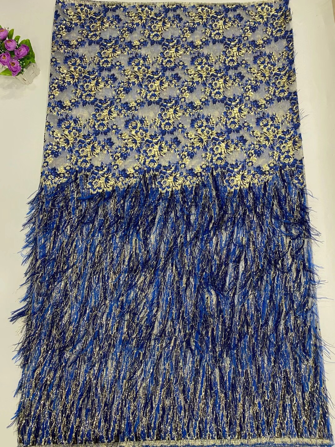 Blue Feather Lace 2021 New Design Jacquard French Nigerian Lace Fabric High Quality Brocade African Lace For Evening LY20109A