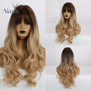 Image 1 - ALAN EATON Long Wavy Hair Wigs with Bangs Ombre Black Dark Brown Gloden Blonde Synthetic Wigs for Black Women Heat Resistant Wig