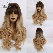 EATON perruques synthétiques longues ondulées avec frange ombré, brunes foncées, blondes Gloden, postiches résistantes à la chaleur pour femmes noires