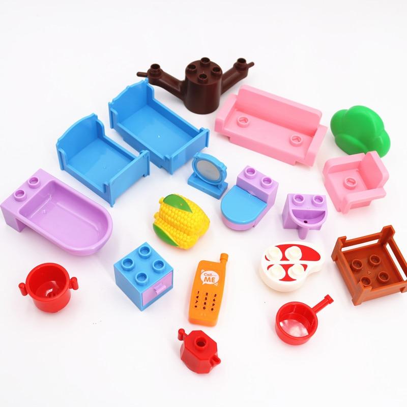 Duploed Compatible Accessories Dream Sofa Bathroom Furniture Corn Ham DIY Building Blocks Children Baby Toys Educational Toys