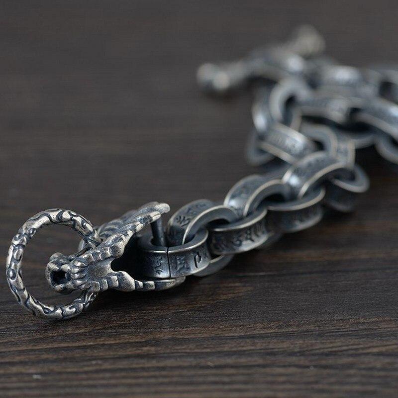 [Ultimate SaleThai Silver Bracelet Antique Men for Man Six-Word Mantra Leading Men's S925 Solid New