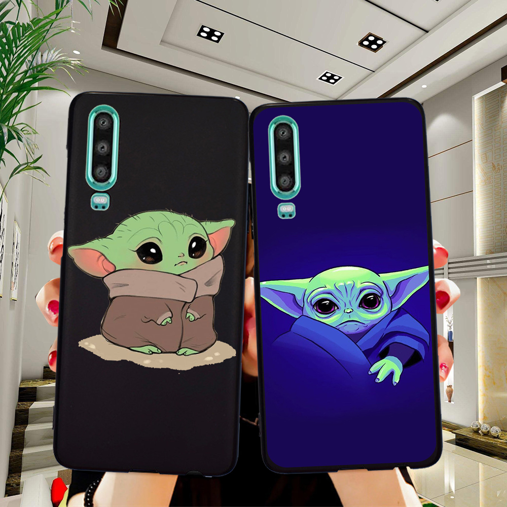 Cartoon Cute Baby Yoda Meme Phone Case For Huawei P40 P30 Pro P20 P10 P8 Lite 2017 Mate 30 20 10 Lite Pro cover Silicone coque image