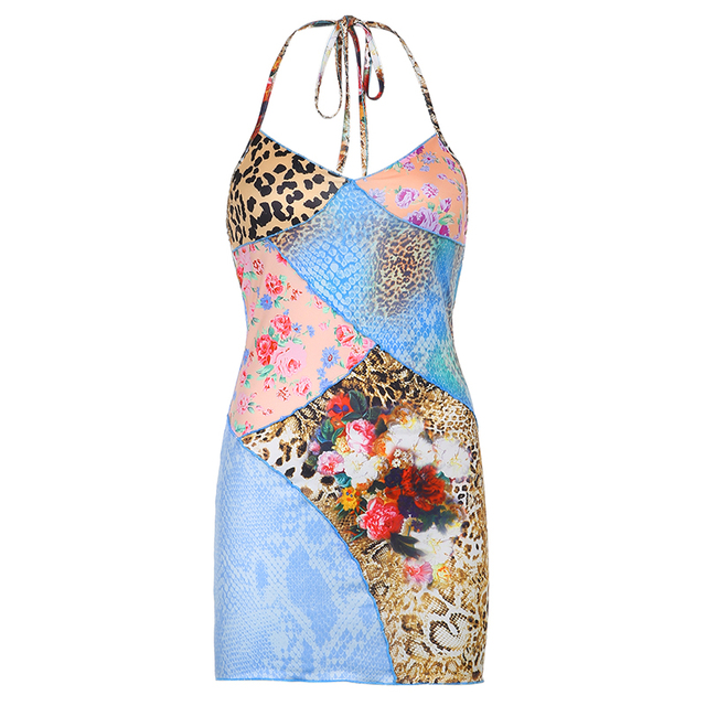 BIIKPIIK Halter Skinny Print Women Mini Dresses Casual Streetwear Rework 2020 Camisole Sexy Party Wear Female Fashion Dress 6
