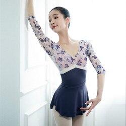Printed Leotards Ballet Dance Gymnastics Invisible Ballet Leotard for Women Dancewear