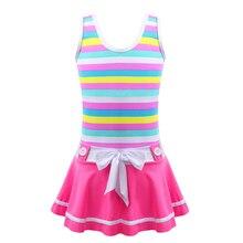 Bathing-Suit Swimwear Swim-Clothing Shoulder-Straps Girls One-Piece Striped Kids Summer