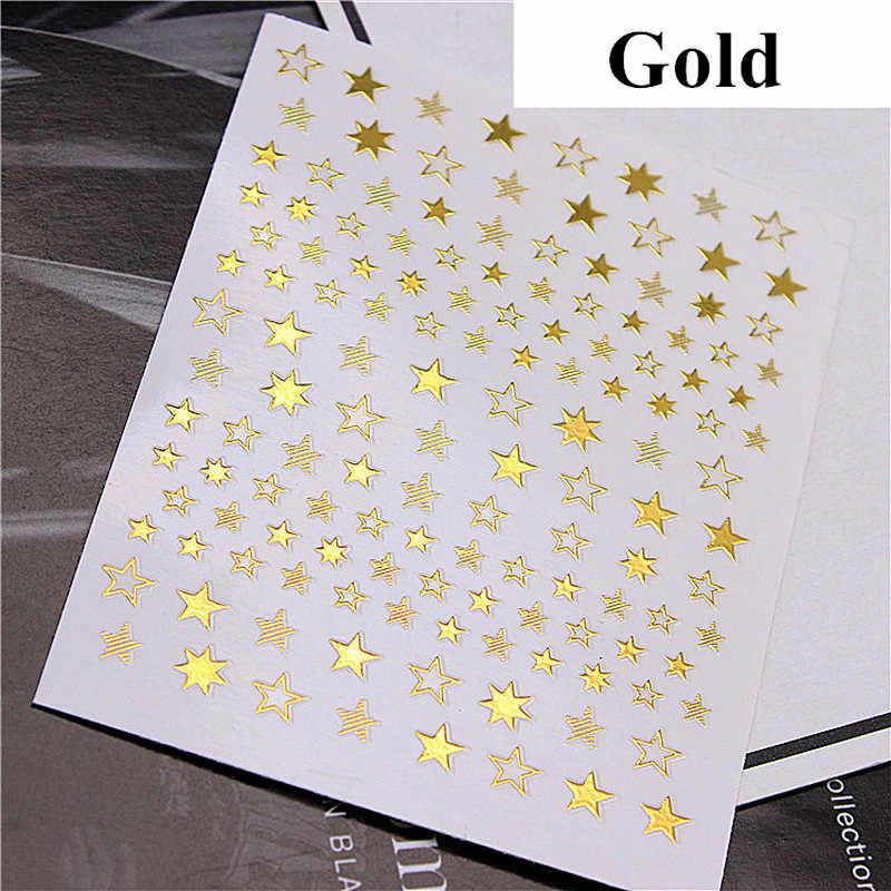 Indah Bintang Geometri 3D Kuku Seni Stiker Emas/Perak/Mawar Emas Ornamen Self-Adhesive Slider Manikur Aksesoris baru