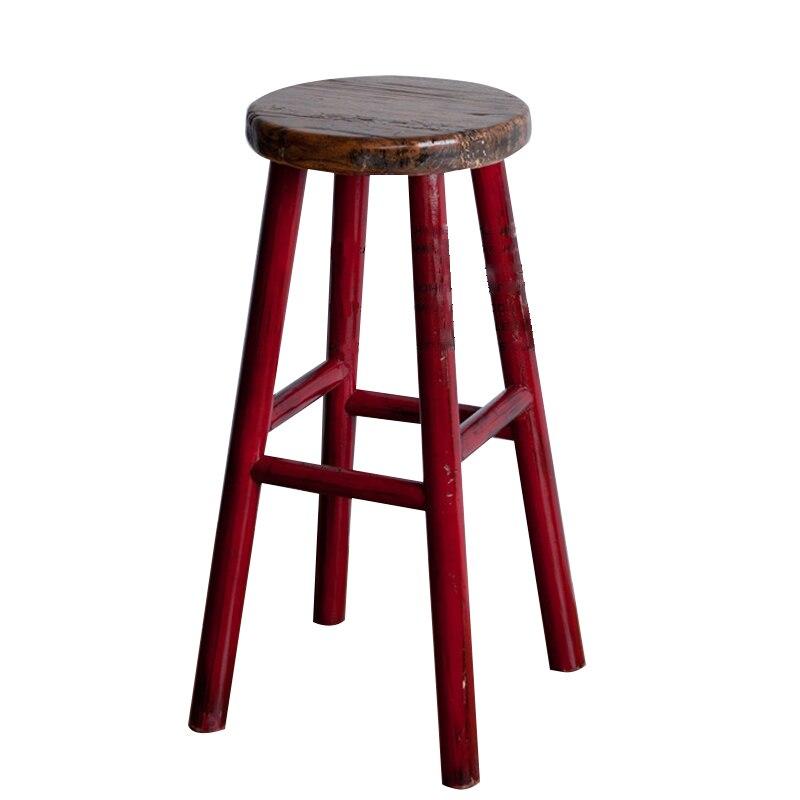 Nordic Retro Soft Style Solid Wood Bar Chair Creative High Chair European Bar Chair Simple High Chair