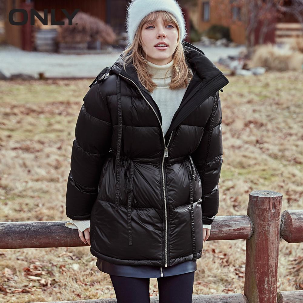 ONLY 2019 Autum Winter New Arrivals Pure Color Drawstring Waist Down Jacket | 119323518