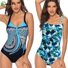 Large Size Swimsuit One Piece Women Black Vintage Floral Print Beach Swimwear Bathing Suit Monkini XXXXXL