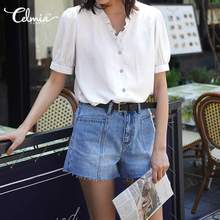 Celmia Plus Size Blusas Fashion Women Summer Top Puff Sleeve Chic Blouses Sexy V-neck Buttons Casual