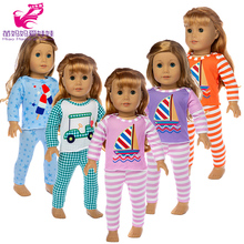 17 inch baby doll clothes pants set cute cartoon car boat pattern 18 american soft home pajama