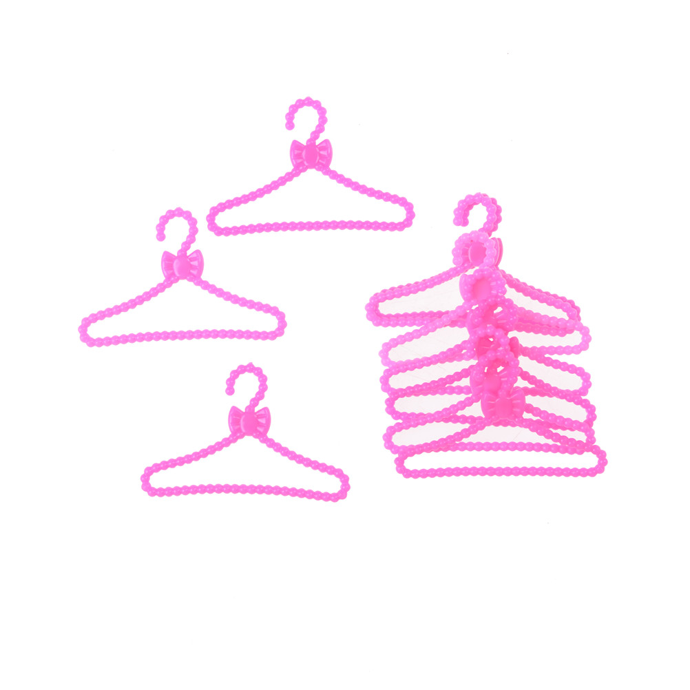 20 PCS/Lot  Play House Girls' Gift Pink Color Hangers Accessories For Barbie Doll Clothes Dress Outfit Skirt Shoes Pretend