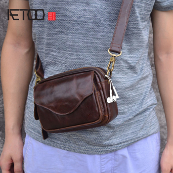AETOO New Fashion Cowhide Man Messenger Bags Genuine Leather Male Cross Body Bag Casual Men small Bag