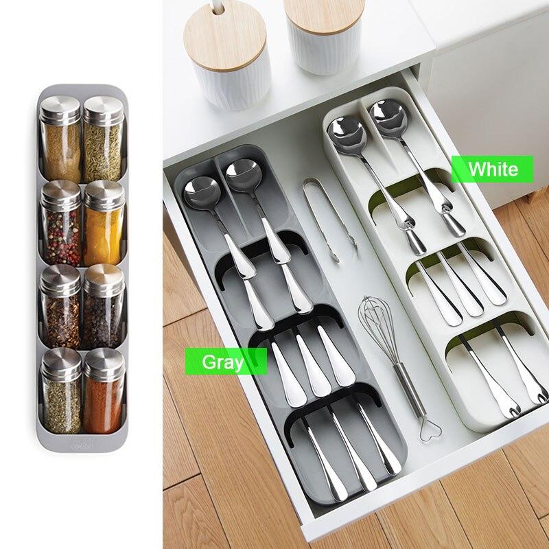 Держатель для ножей Кухня Столовые приборы держатель для ножей Кухня Органайзер Кухонный Контейнер Ложка Вилка для хранения разделительный блок для ножей-5