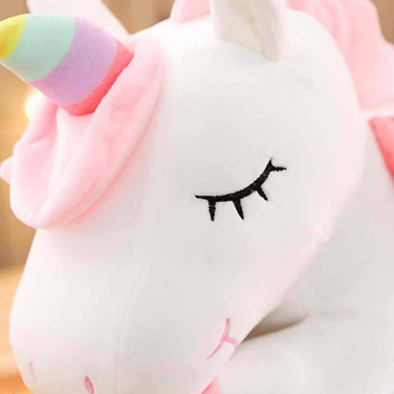25-100 см милый Единорог кукла плюшевая игрушка девочка в кровати, держащая спящую подушку большая кукла подарок для девочки