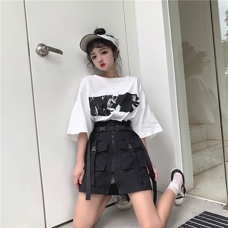 Image 5 - Women's Summer Harajuku Skirt with Belt Pocket Zipper Decorative Tooling Skirts Female Fashion High Waist Mini Skirt 2 colors-in Skirts from Women's Clothing