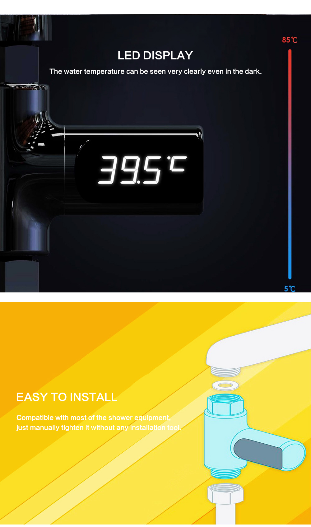 H1151925629e646e79b4e557913eaed39v LED Temperature Display Bathroom Shower Faucet Electricity Water Temperature Monitor for Baby Care Digital Faucet Thermometer