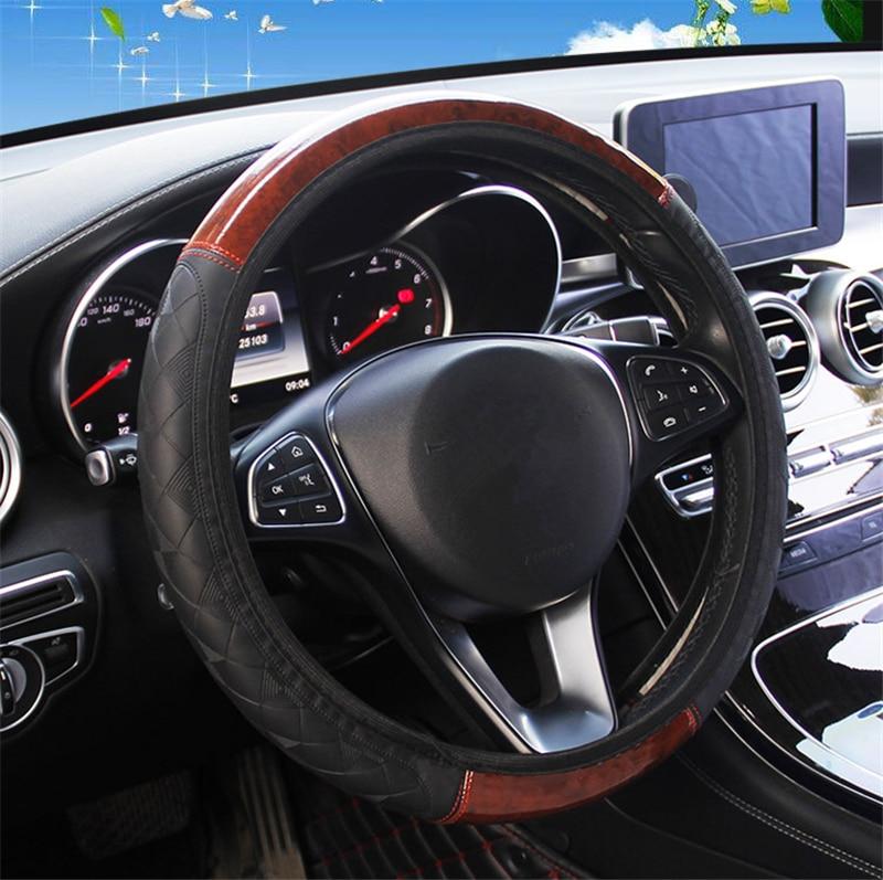 4 cores nova alta qualidade volante do carro cobre grão de madeira mogno couro em relevo sem elástico anti-deslizamento 36-40cm