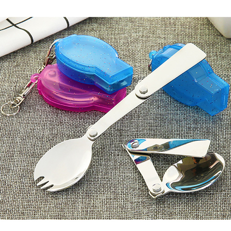 Foldable Folding Stainless Steel Spoon Spork Fork Camping Picnic Travel