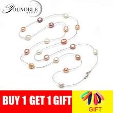 Женское длинное ожерелье с натуральным пресноводным жемчугом