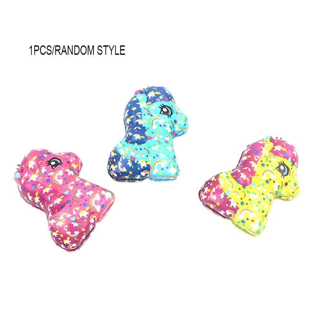 Simulated Cartoon Rainbow Horse Toy Decoration Slow Rebound Decompression Toy Foam Relaxed Toy Cake Sample Model