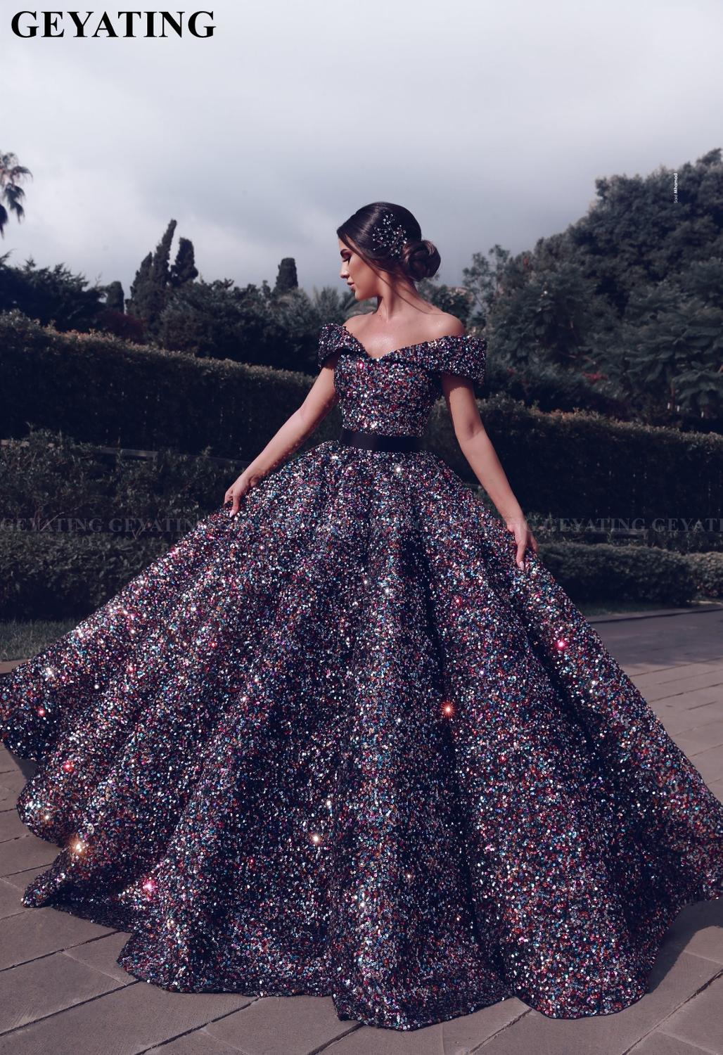 Colorful Sequin Princess Dubai Evening Ball Gowns For Women Off Shoulder Arabic Formal Prom Dresses 2019 Vestido De Quinceanera