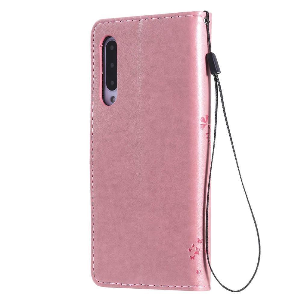 Da Cao Cấp Sang Trọng Cây Xinh Xắn Họa Tiết Mèo Dành Cho Xiaomi 9 Pro 9 Lite Retro Ốp Lưng Điện Thoại Redmi Note 8 8 Pro 8A Ví Dạng Flip Case