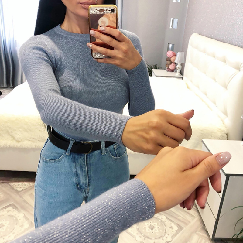 Womens Sweaters 2018 Winter Shiny Lurex Autumn Winter Sweater Women Long Sleeve Pullover Women Tops Basic Christmas Sweater Pull(China)