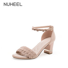 NUHEEL women's shoes buckle thick heel sandals summer new gentle fairy style net red shoes women босоножки женские