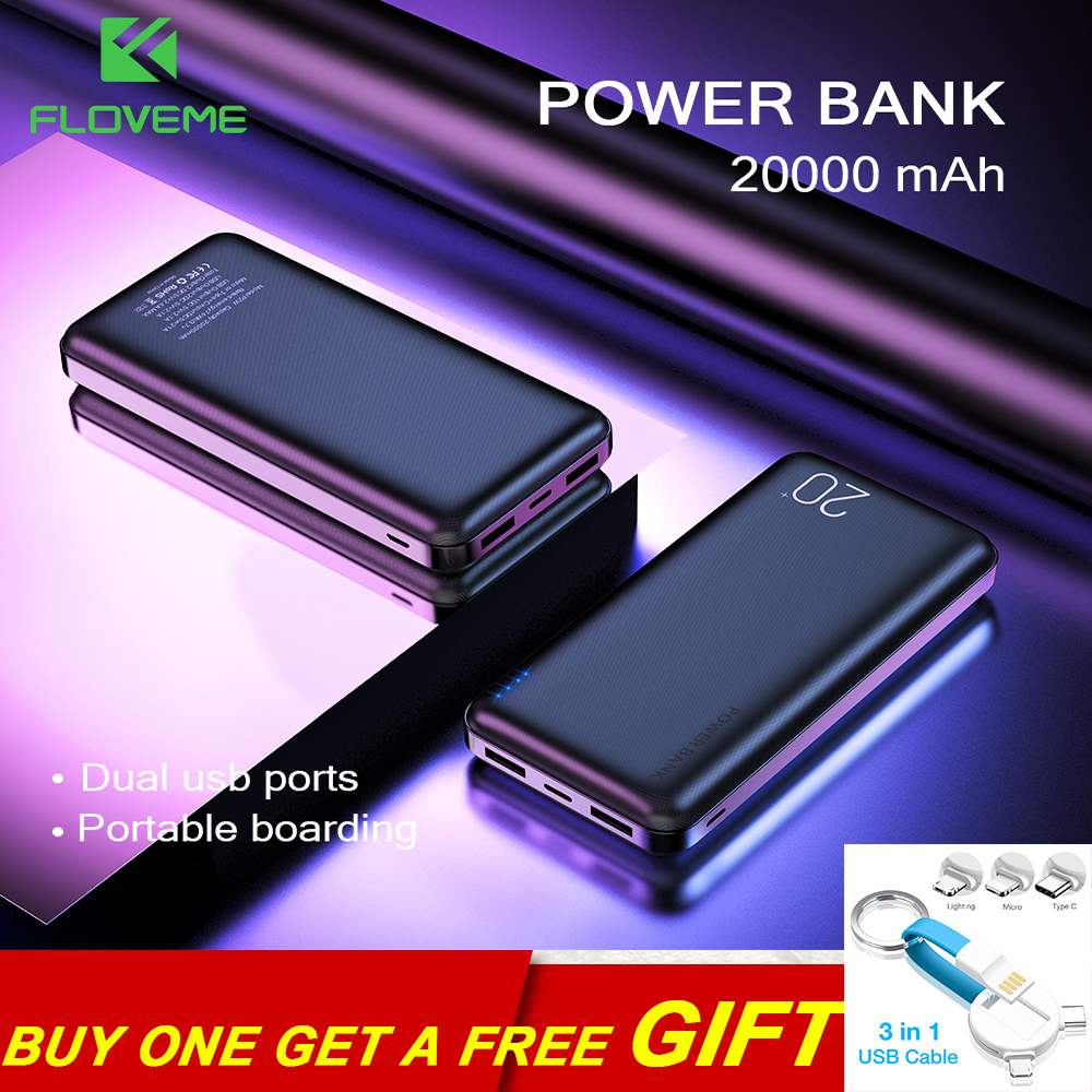 FLOVEME Portable Charger Power-Bank 20000mah Double Usb-Phone For Bateria-Externa-Pack