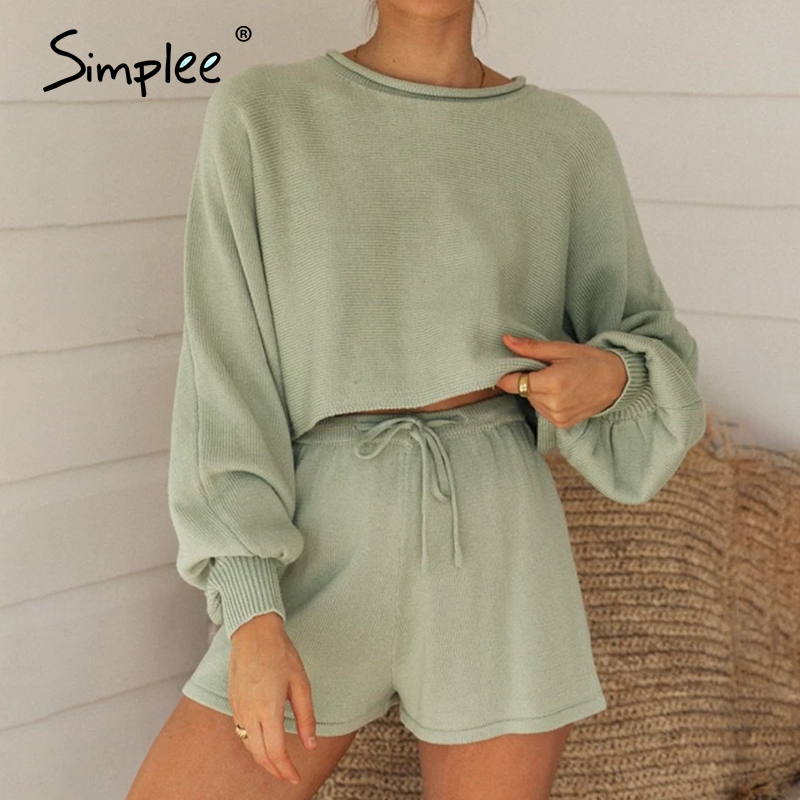 Simplee Casual Solid New Women's Two Piece Suit Summer Bubble Sleeve Top Shorts Set Sexy Navel Sweater Two Piece Set