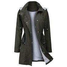 Fashion casual windbreaker hooded jacket waterproof long ladies