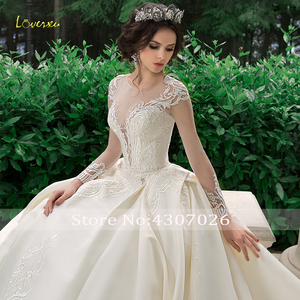 Image 5 - Loverxu スクープ夜会服のウェディングドレス 2019 アップリケビーズロングスリーブ花嫁ドレスチャペルの列車の花嫁衣装プラスサイズ