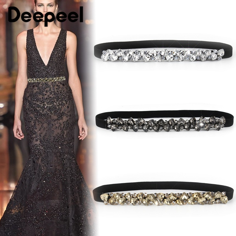 Deepeel 65cm Decorative Cummerbund Female Rhinestone Cummerbund Elastic Crystal Women's Waist Girdle Elastic Dress For 60-80cm