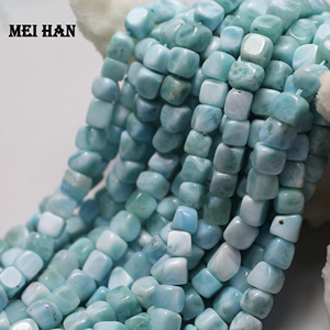 Meihan Wholesale (1 strand) natural 5-6mm larimar square strand loose fashion gem stone beads for jewelry making DIY