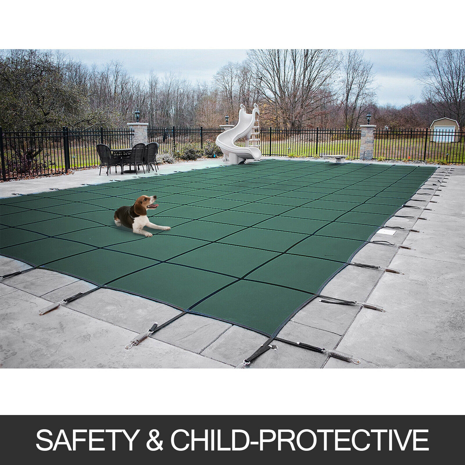 14X26 FT W/Center Swimming Pool Cover Step Rectangular Safety Green Winter Strong toughness and wear resistance|Water Filter Parts| |  - title=