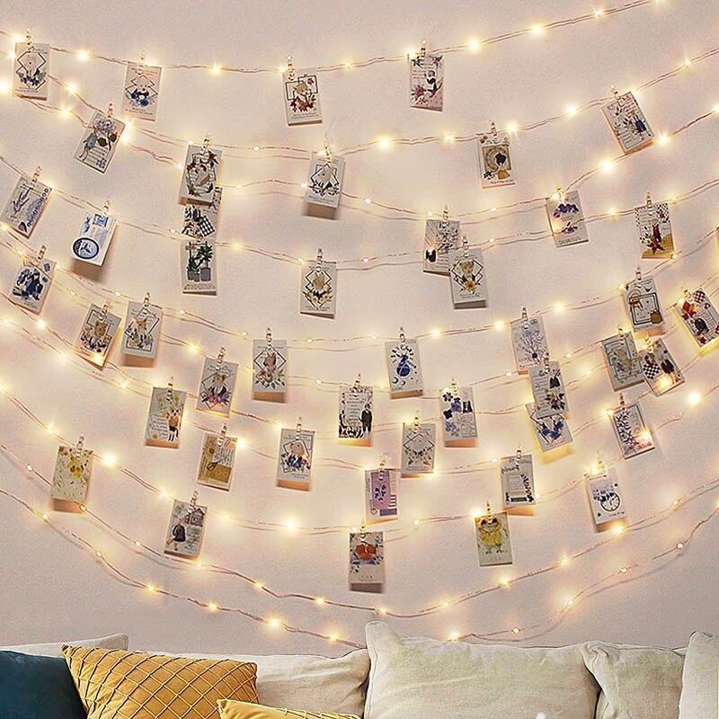 5m 10m clipe de foto usb festão led string luzes de fadas guirlanda festa de ano novo casamento parede decoração de natal para casa quarto