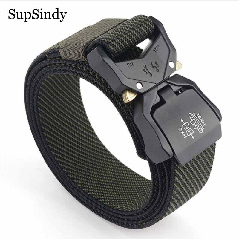 SupSindy Military Army Combat Men Stretch Elastic Nylon Tactical Belt Aluminum Alloy Buckle Canvas Training Waistband Male Strap