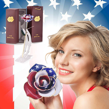 2019 New Product American Flag 24k Gold Dipped Rose Flower Artificial with Stand and Box Christmas Birthday Gifts for Girls
