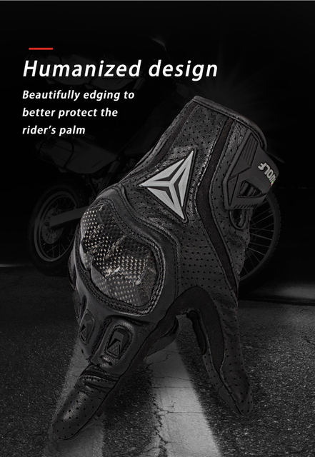 Full finger sheepskin motorcycle gloves waterproof breathable scooter chopper riding gloves Anti-fall leather motocross gloves 4